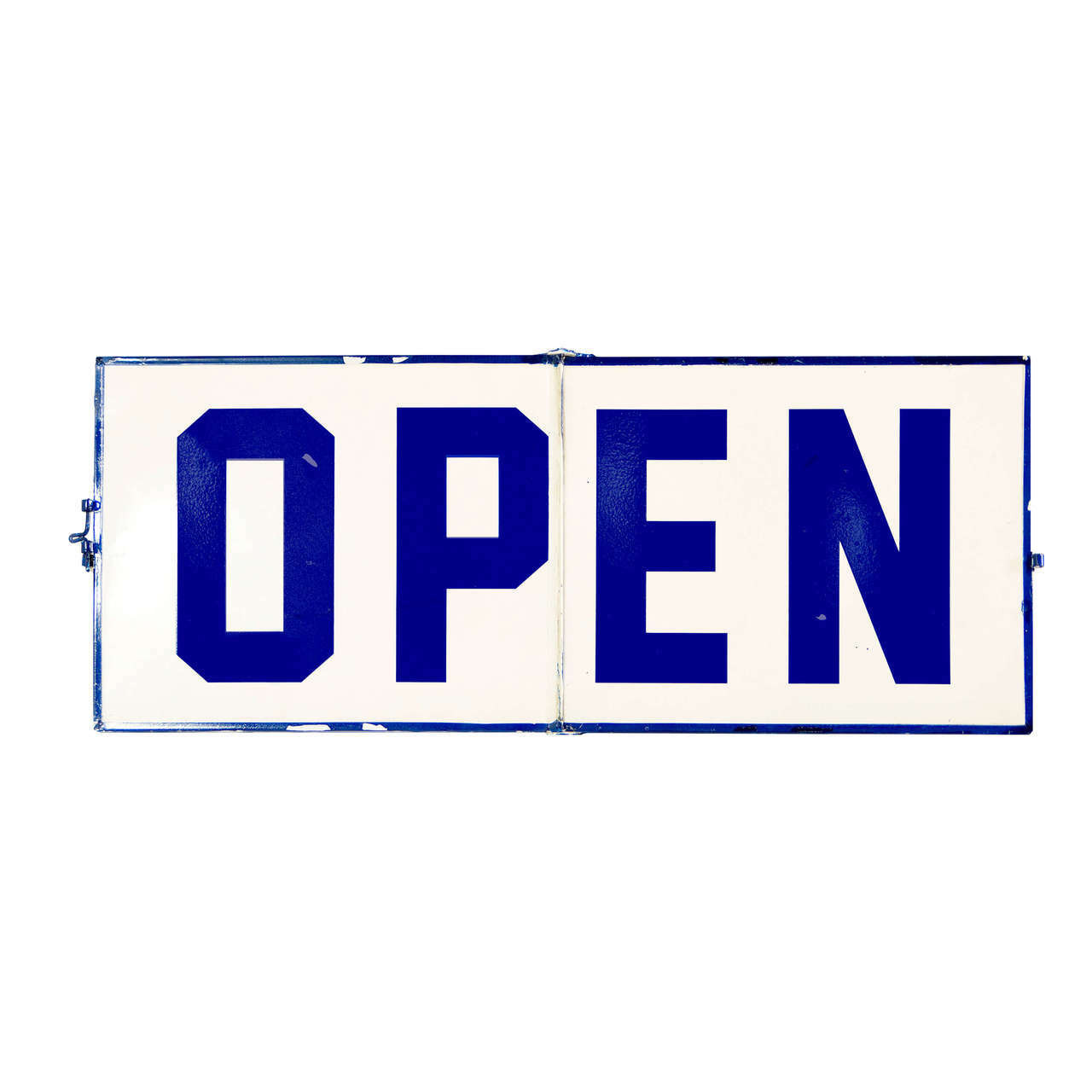 open closed sign blue