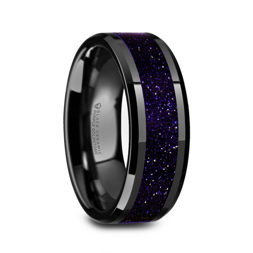 Aergia Black Ceramic Polished Men S Wedding Band With Purple Goldstone Inlay Vansweden Jewelers