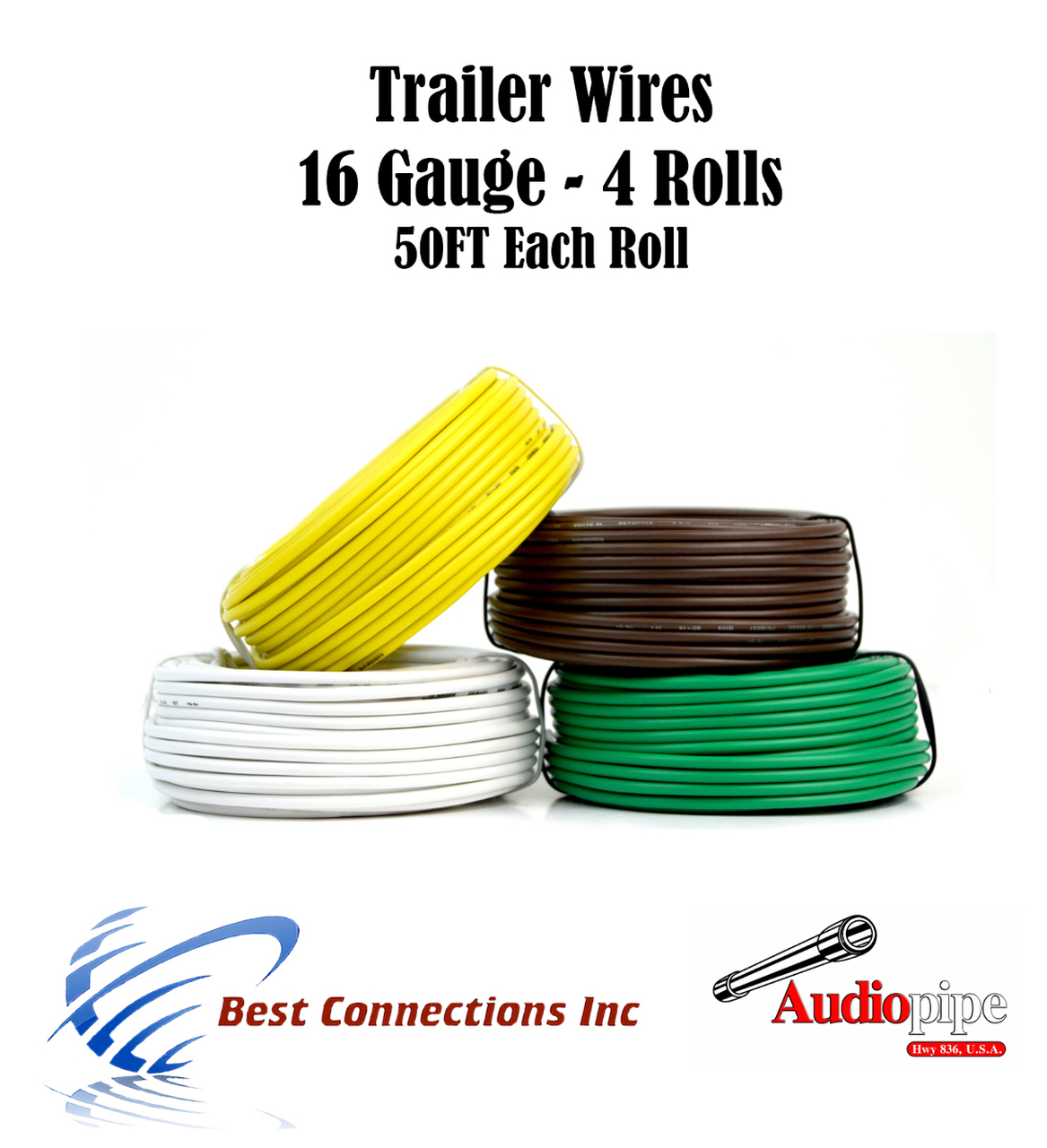 small resolution of 4 way trailer wire light cable for harness 50 ft each roll 16 gauge 4 colors