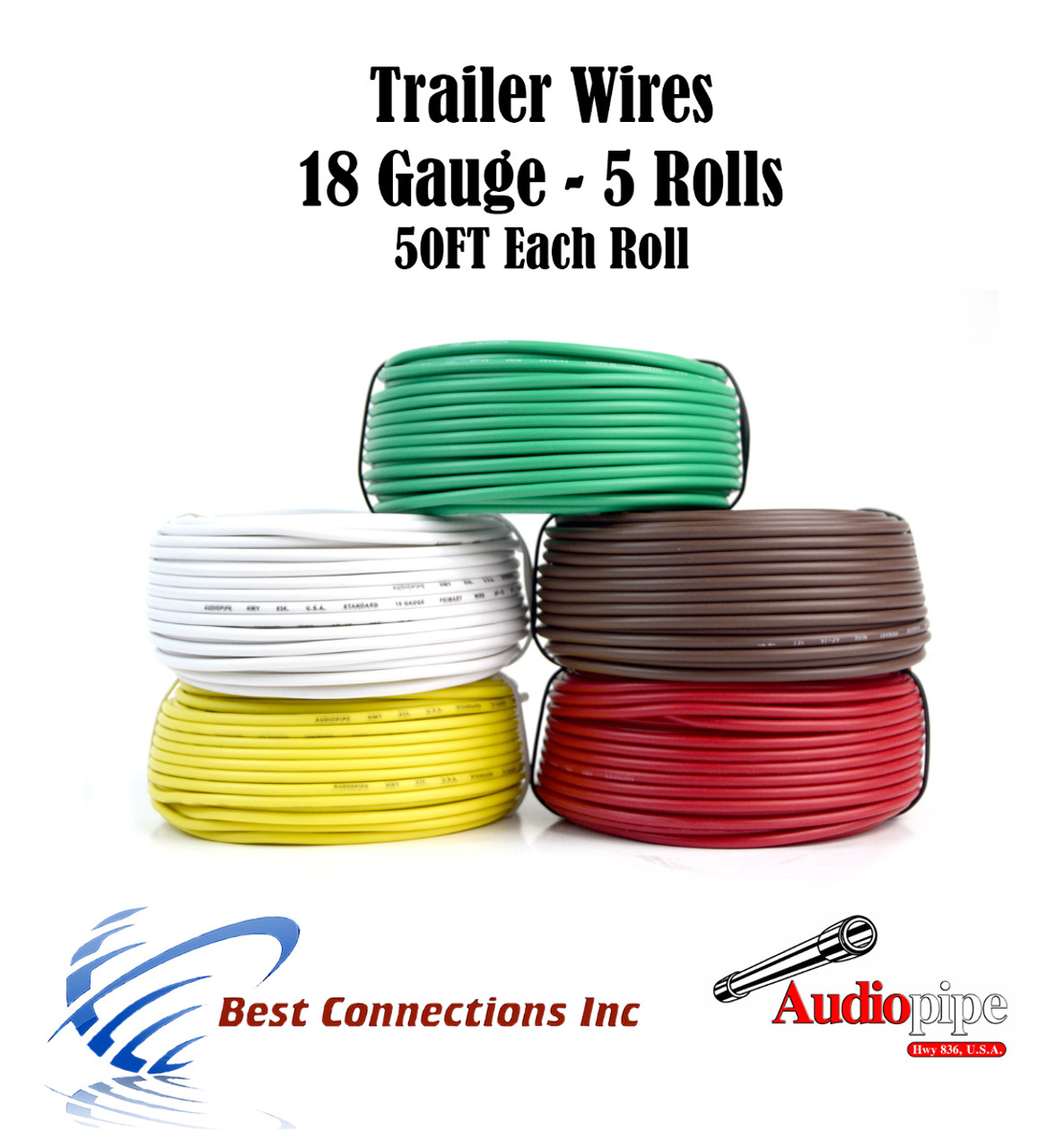 5 way trailer wire light cable for harness led 50ft each roll 18 gauge 5 colors [ 1094 x 1200 Pixel ]