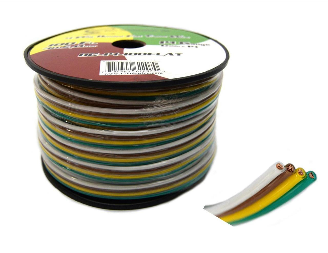 flat trailer light cable wiring harness 100 feet 14 awg 4 wire cca [ 1280 x 989 Pixel ]