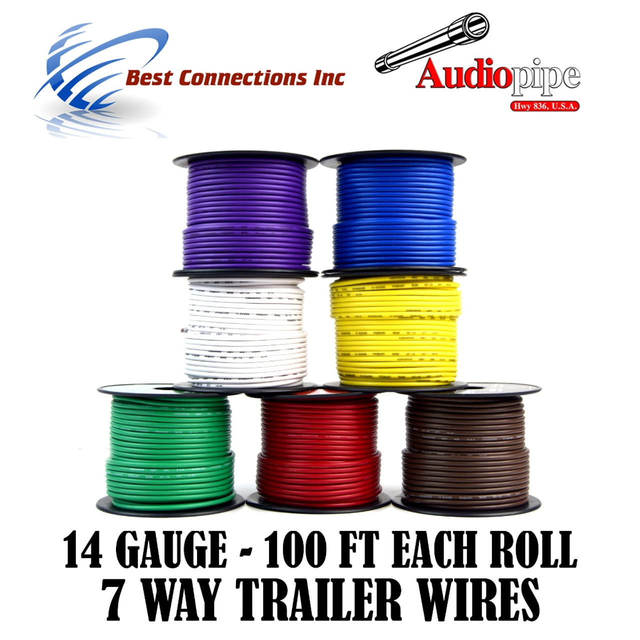 14 gauge 100 feet trailer light cable wiring harness 7 colors rewire [ 1280 x 1280 Pixel ]