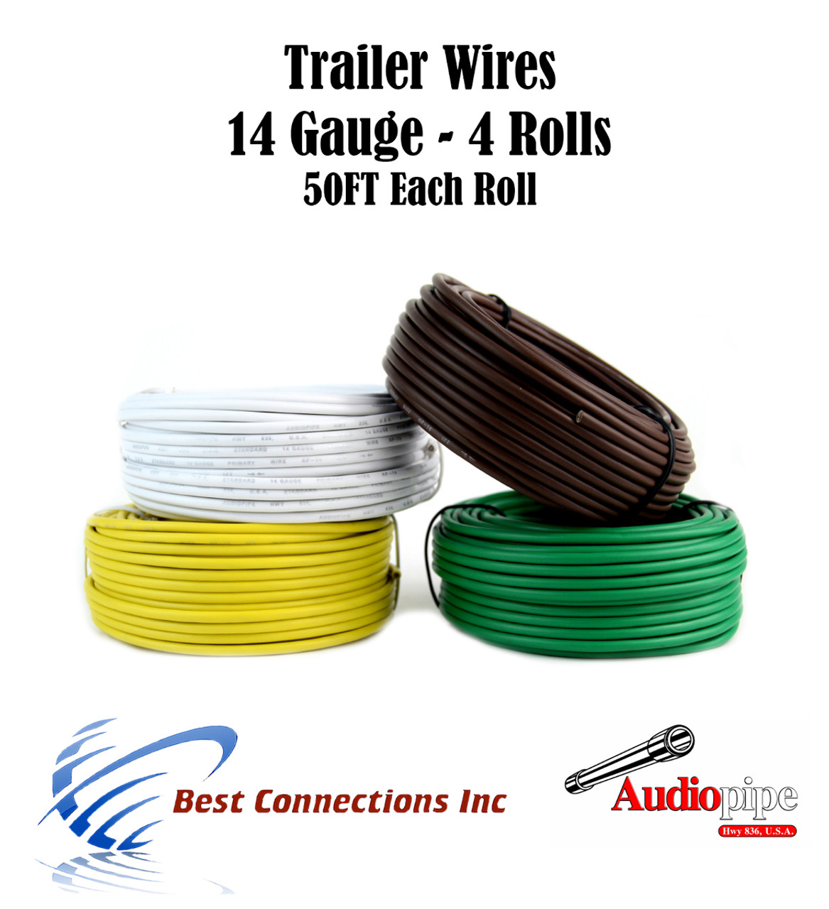 trailer light cable wiring for harness 50 feet 14 gauge 4 wire 4 colors [ 1094 x 1200 Pixel ]
