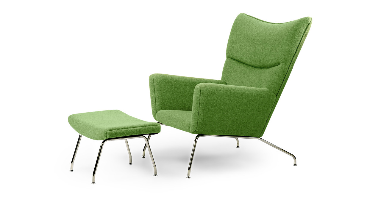 Wing Back Chairs Wegner Wing Chair Ottoman Apple Green