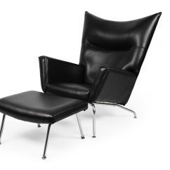 Black Chair And Ottoman Resin Adirondack Chairs Canadian Tire Wegner Wing Premium Leather Kardiel