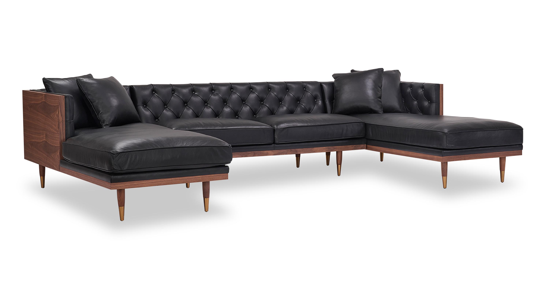 woodrow neo 126 leather sofa u sectional walnut black aniline
