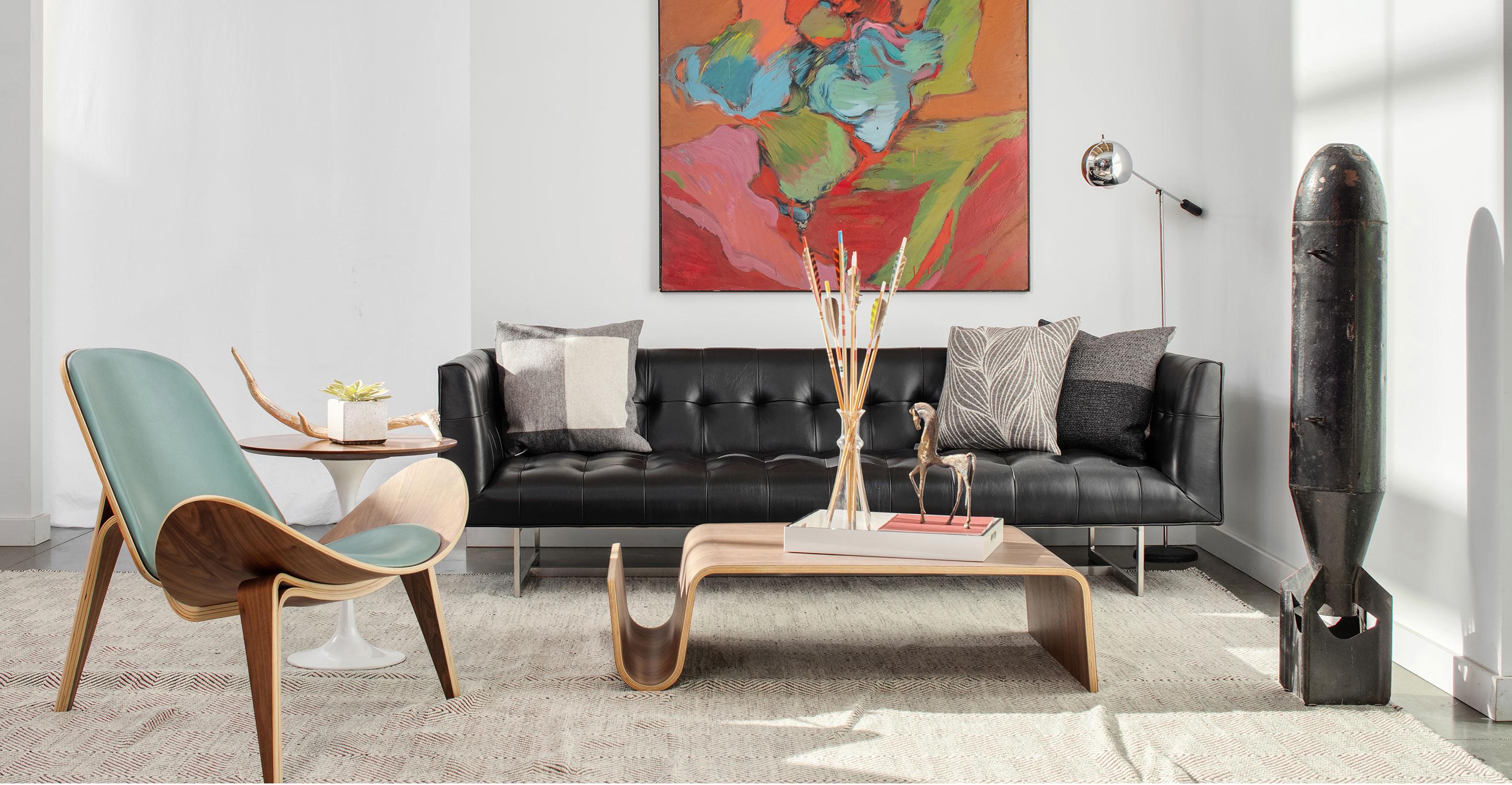 Edward 87 Leather Sofa Black Aniline Kardiel