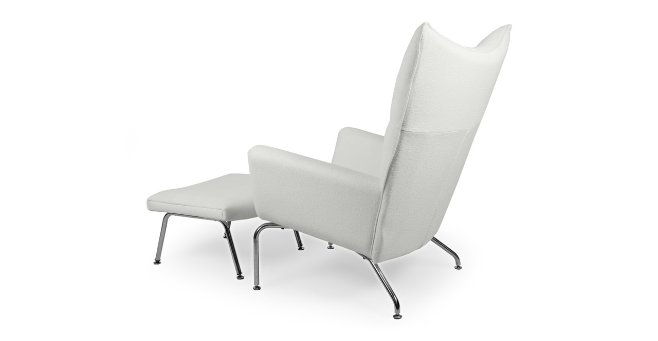 White Wing Chair Wegner Wing Chair Ottoman White Cashmere