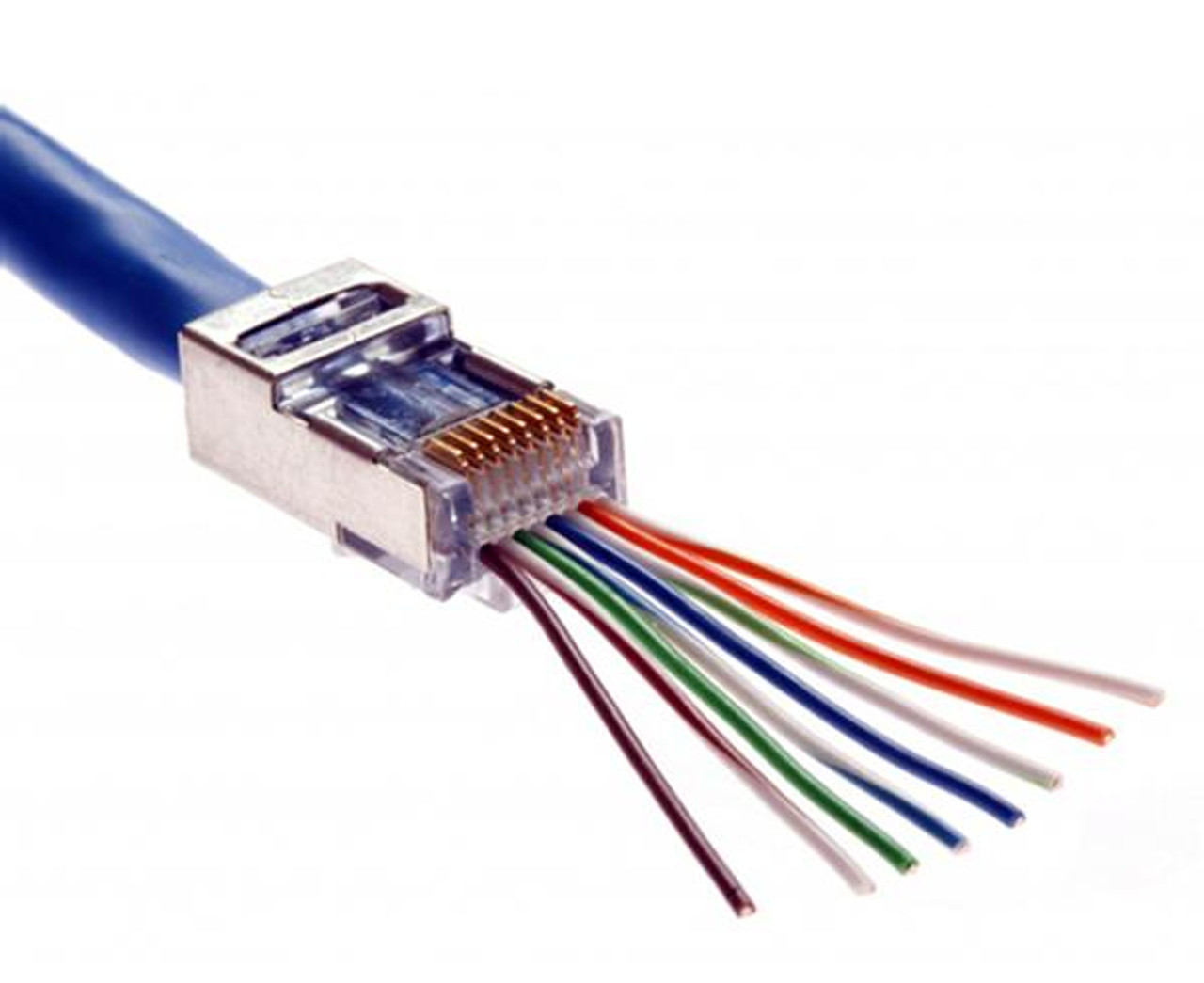 medium resolution of quick install rj45 shielded cat5e connector feed through wires cat5e connectors wiring