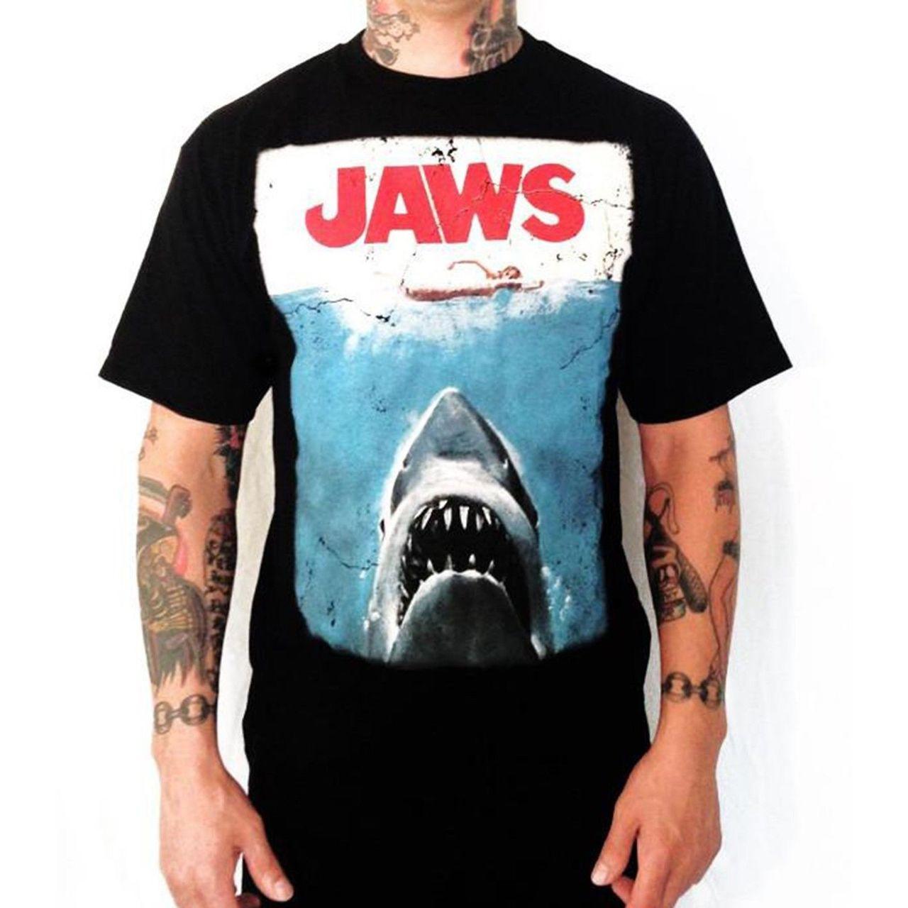 universal the original 1975 jaws movie poster tee shirt black steven spielberg