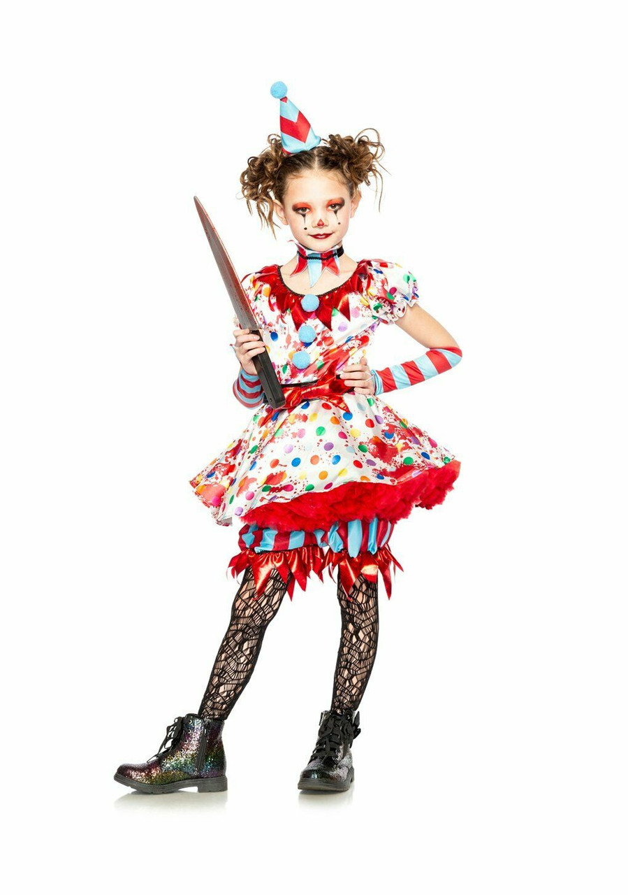 Sometimes it's just more fun to send your friends a little scare on halloween. Seeing Red Killer Scary Clown Bloody Dress Childrens Halloween Costume 40156 Fearless Apparel