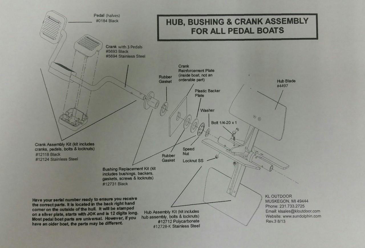 sundolphin pedalboat schematic rudder and steering parts list  [ 1280 x 872 Pixel ]