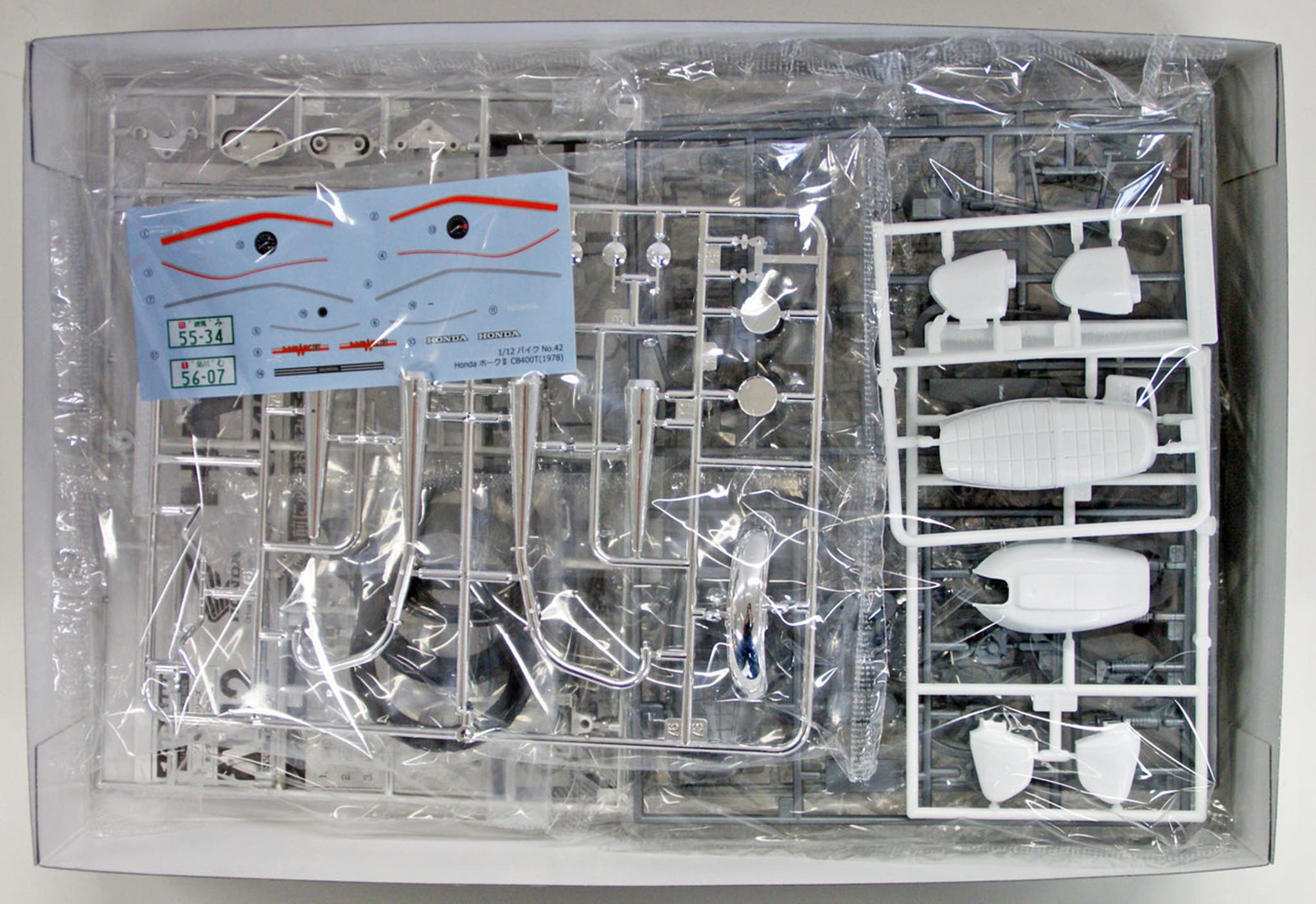 medium resolution of  aoshima 53966 bike 42 honda hawk ii cb400t 1 12 scale kit