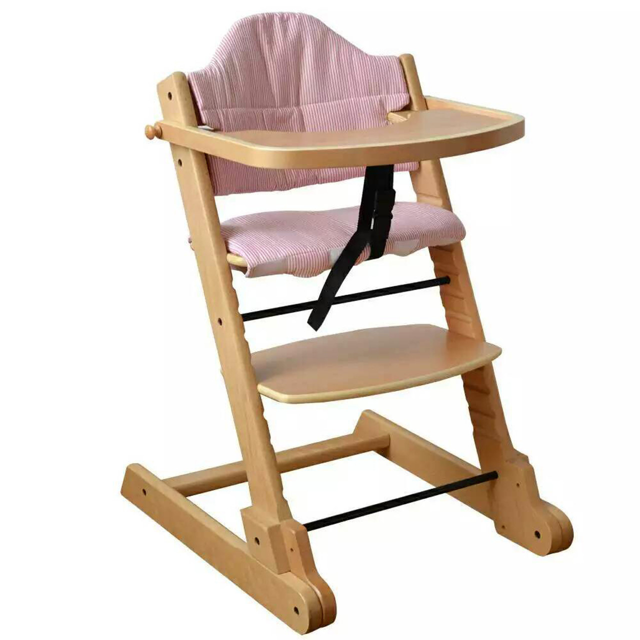 Wooden High Chairs For Babies Strong Solid Natural Wooden Foldable Baby High Chair With Tray Pad And 5 Points Safety Straps
