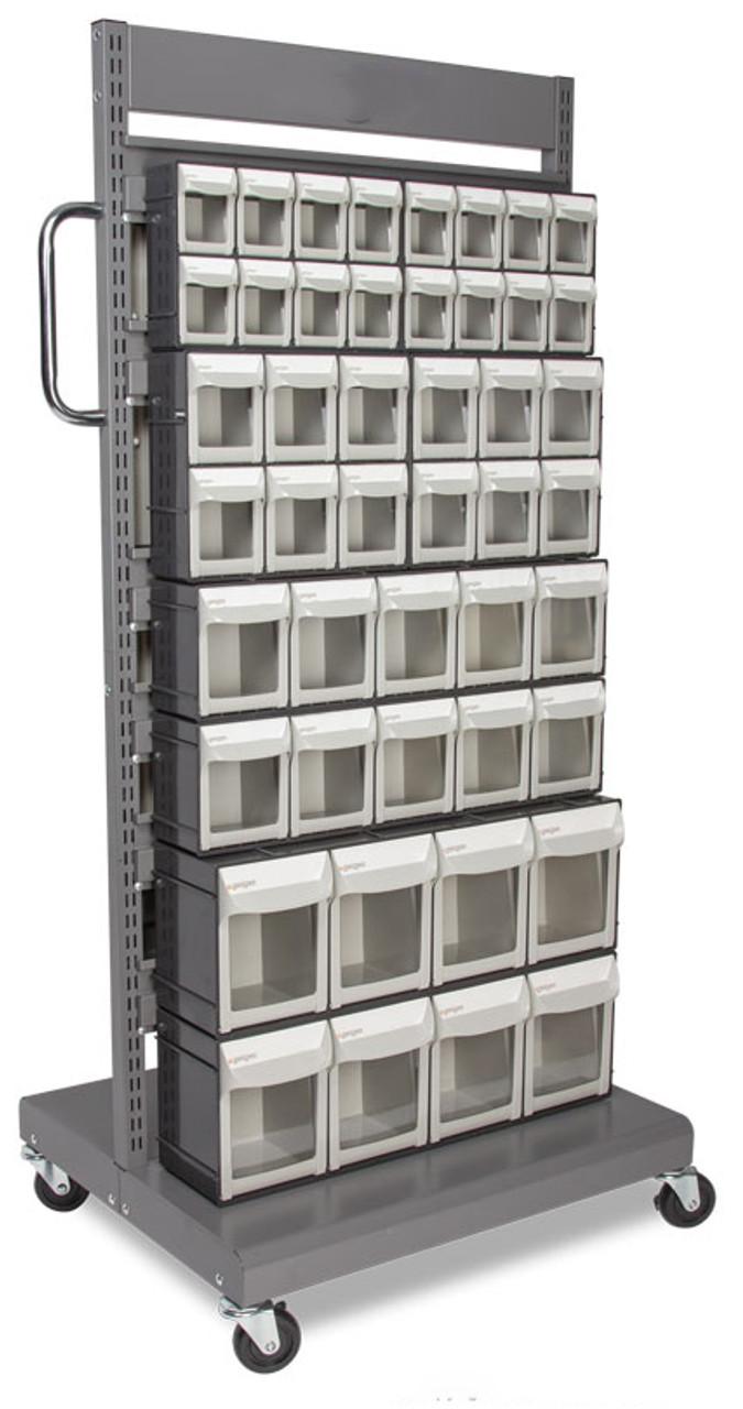 clear flip front parts bins