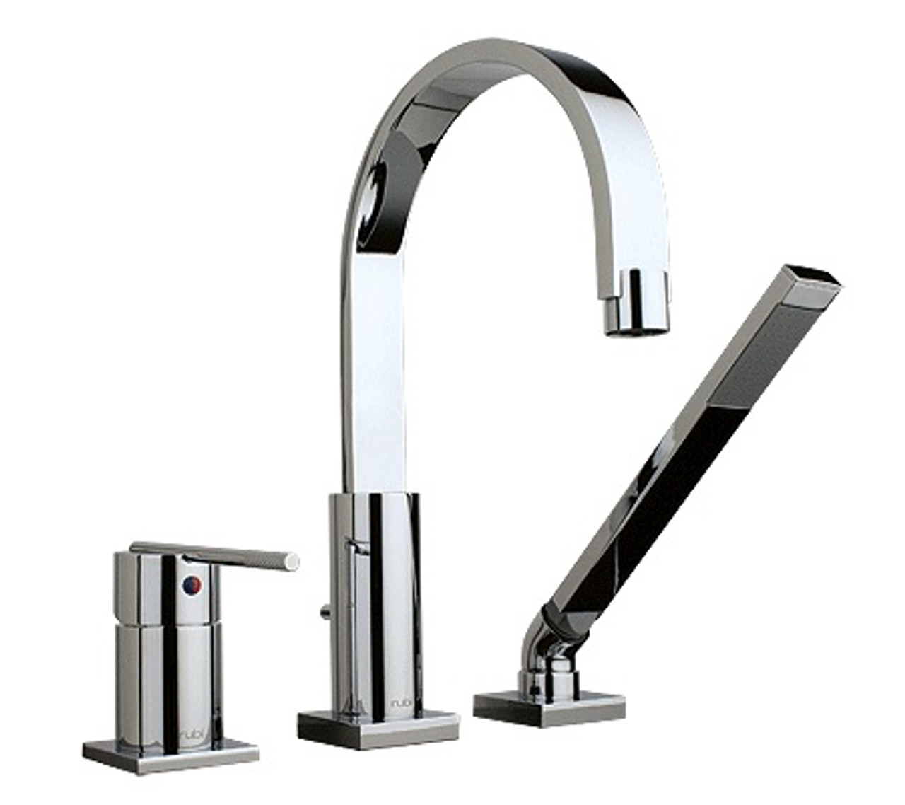 rubi viso 3 hole deck mounted bath faucet with handheld shower