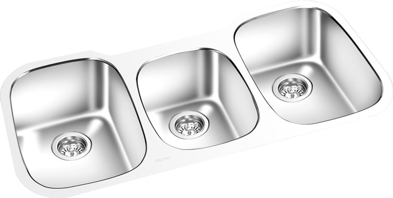 triple kitchen sink industrial faucet bowl under mount 42 x 18 york taps