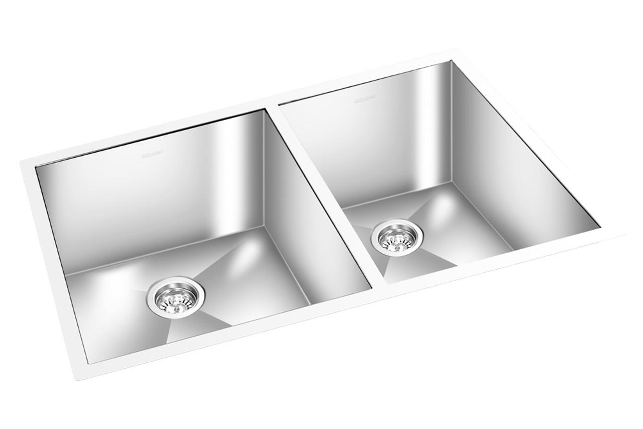 gem double kitchen square sink undermount 33 x 20