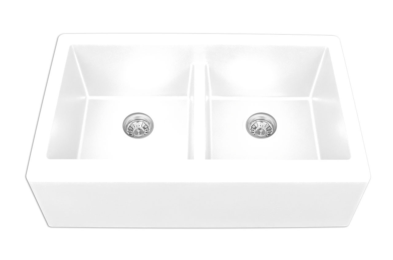 kitchen sink white strainers karran double equal bowl apron front finish 34 x 21 1