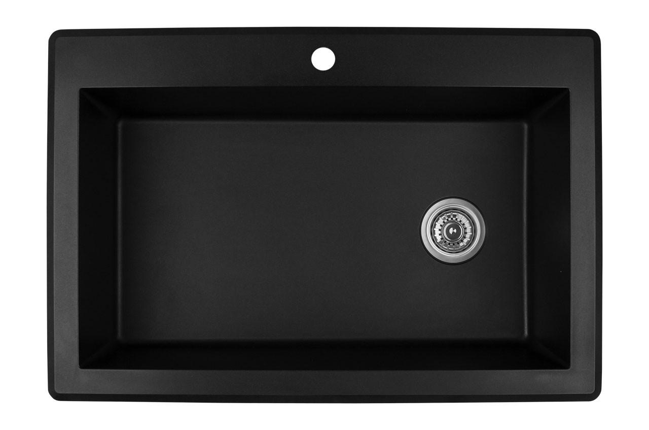 karran extra large single bowl top mount kitchen sink black finish 33 x 22