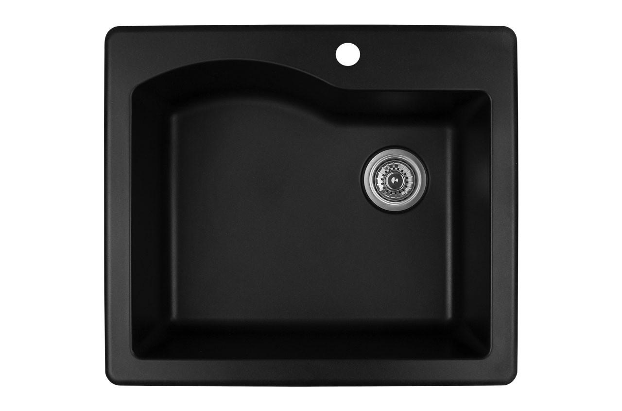 karran single bowl top mount kitchen sink black finish 25 x 22