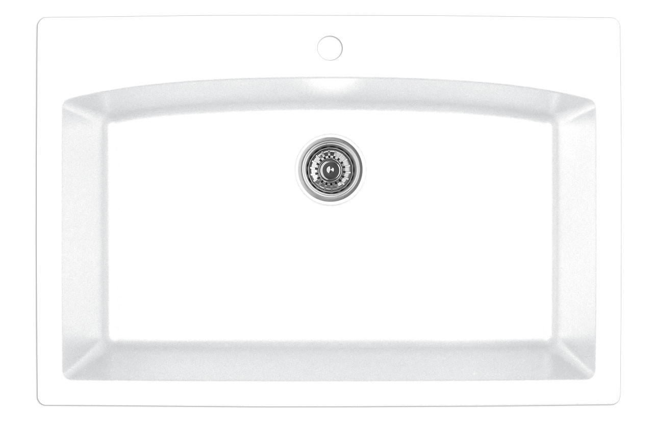 kitchen sink white delta lewiston faucet karran extra large single bowl top mount finish 33 x 22