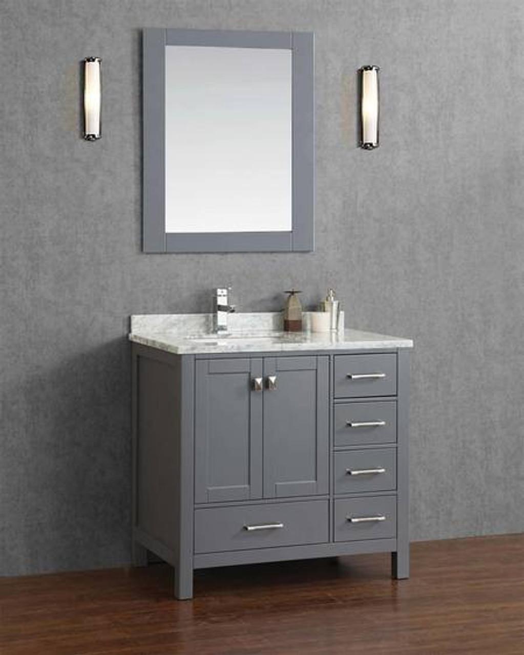 Armada 44 Bathroom Vanity Ice Grey Left Hand Sink York Taps