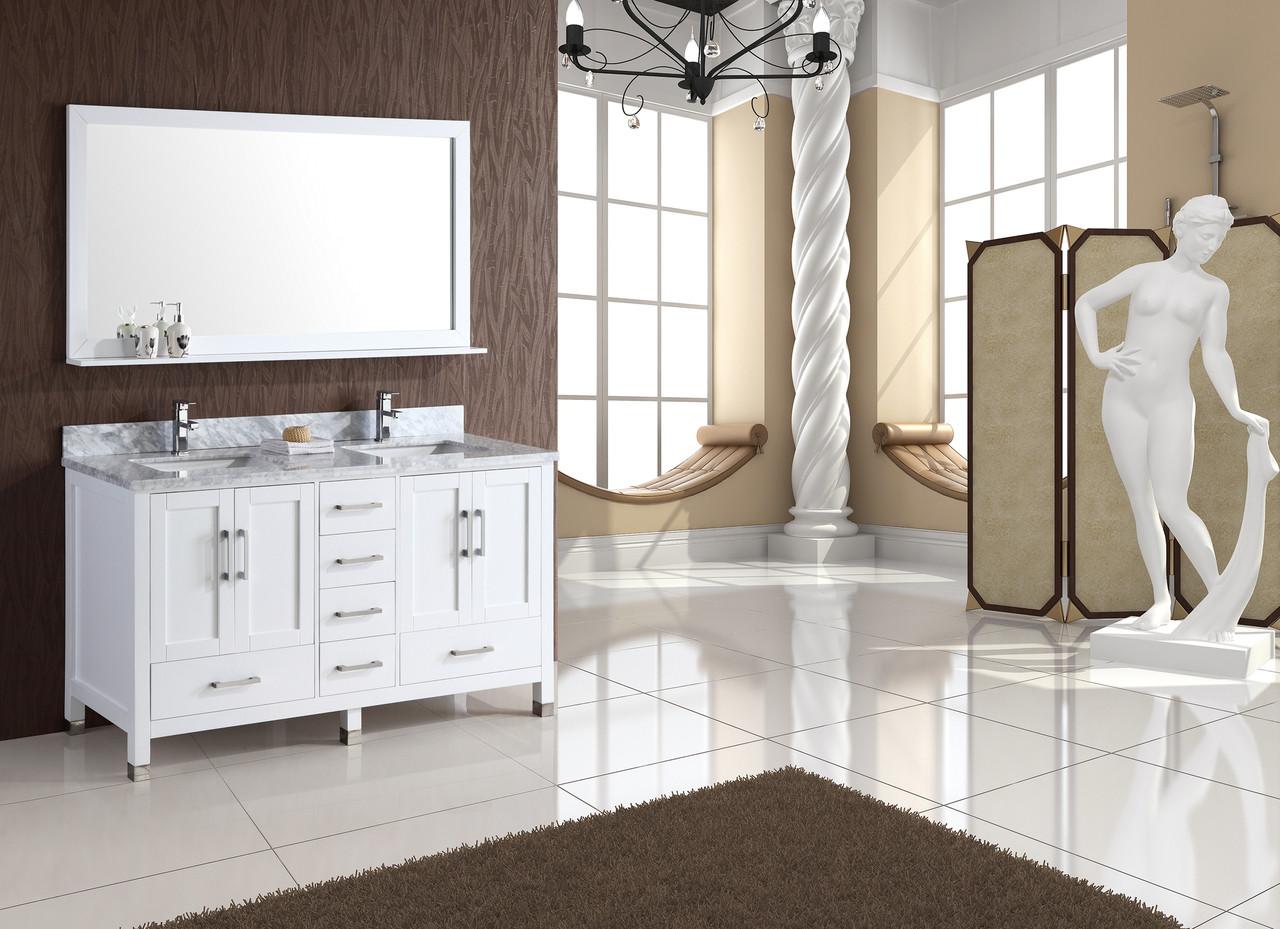 Armada 65 White Double Sink Bathroom Vanity York Taps