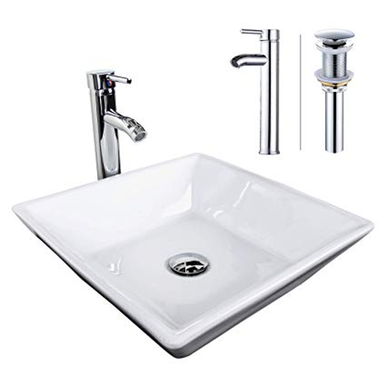 modern square over mount vessel sink chrome faucet combo with pop up