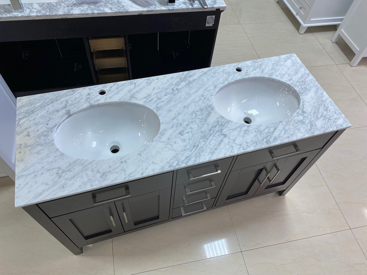 60 x 22 d double sink marble counter top