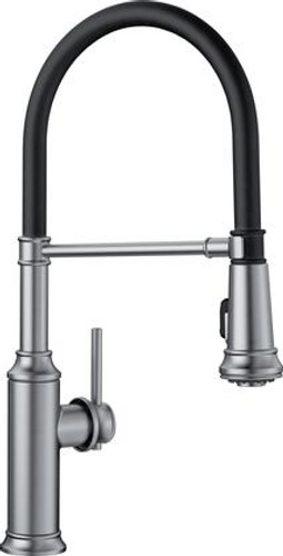 kitchen faucet wall unit carcasses blanco empressa single handle deck mounted semi professional with pull down dual