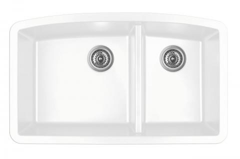 kitchen sink white tile flooring ideas karran double bowl undermount finish 32 1 2 x 19