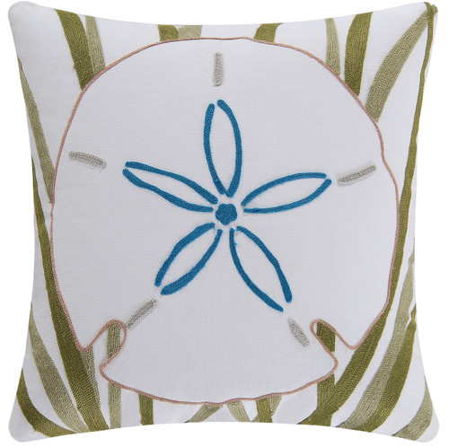 sand dollar and sea grass 18 x 18 inch white coastal accent throw pillow