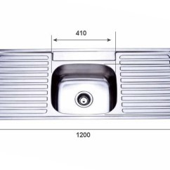 Kitchen Draining Board Cost To Build Outdoor Project Inset Sink 1200mm Single Bowl With Double