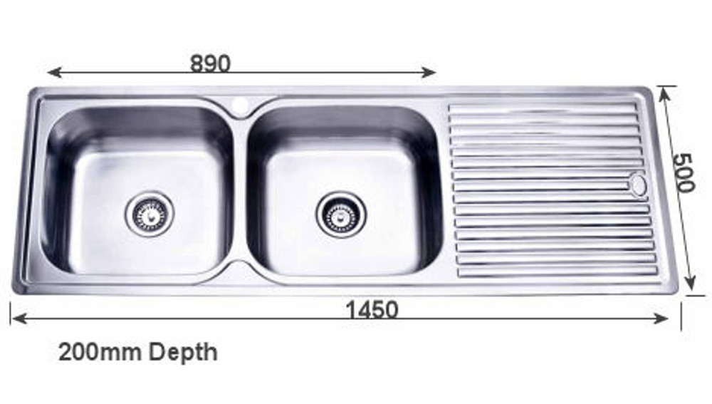 kitchen sinks with drain boards tile countertop project inset sink 1450mm double bowl draining board