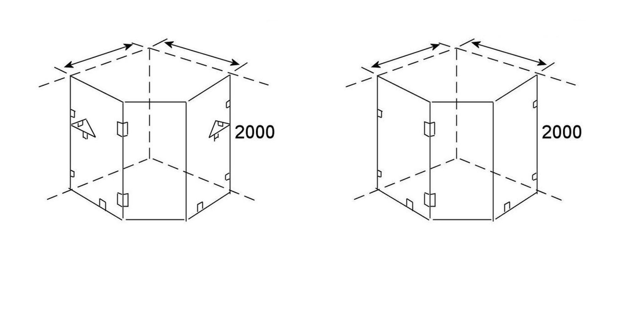 normandy frameless shower screen corner diamond shape  [ 1280 x 654 Pixel ]