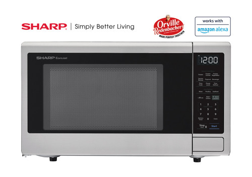 1 4 cu ft 1000w sharp stainless steel smart carousel countertop microwave oven smc1449fs