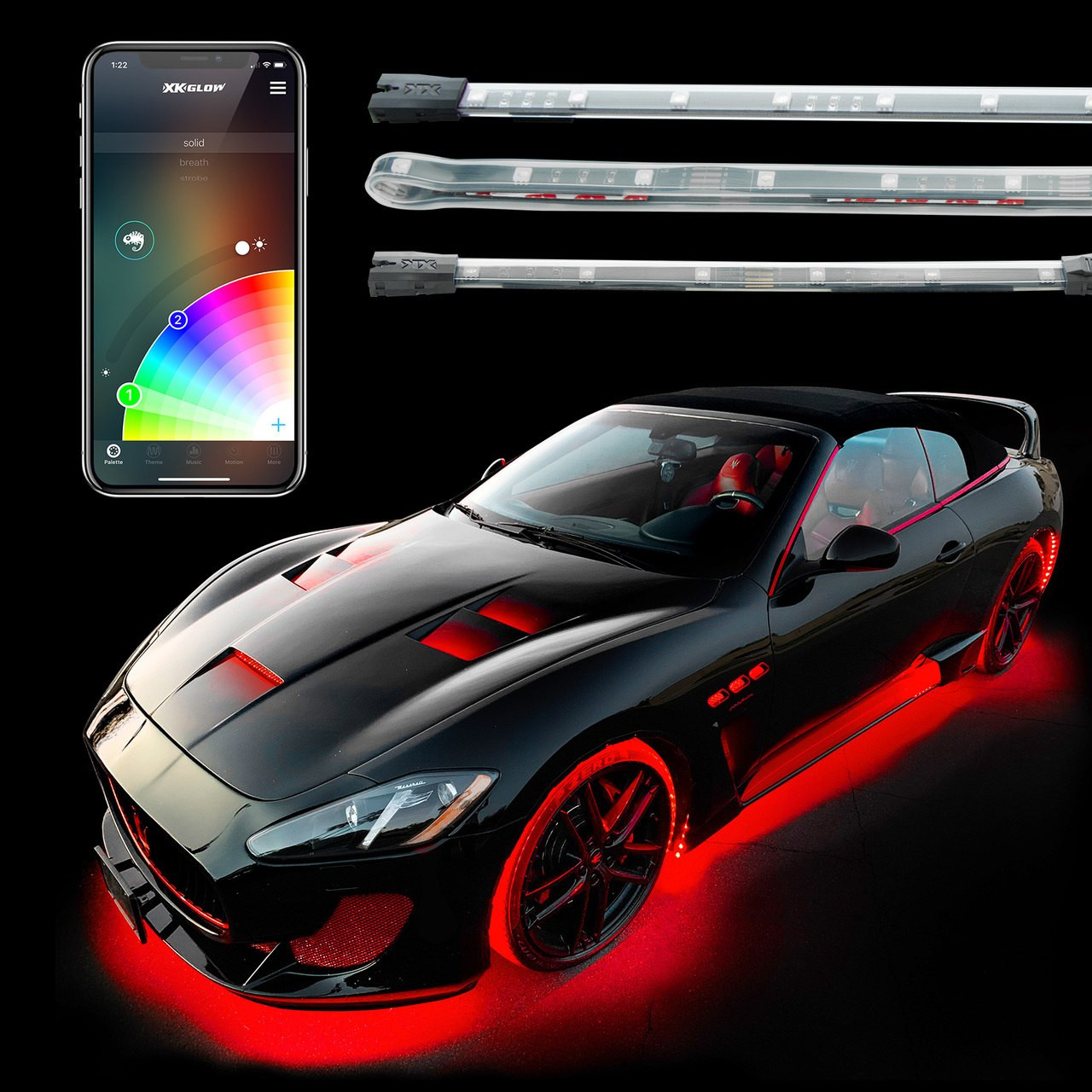 underglow interior led accent light kits for cars xkchrome smartphone app