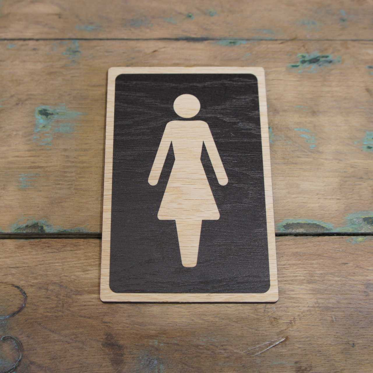Wooden Toilets Sign Womens Ladies Symbol Sign