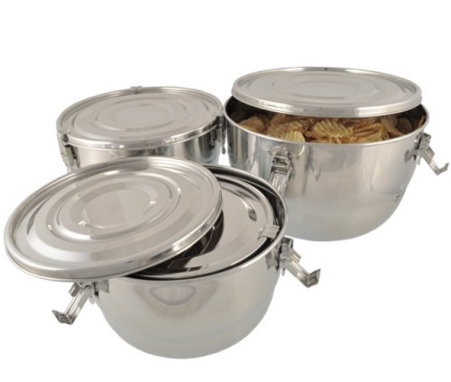 Set Of 4 Large Stainless Steel Airtight Containers Nestable