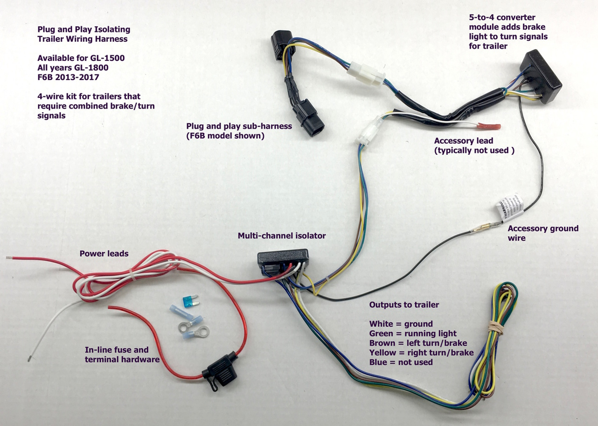 hight resolution of  gold wing 4 wire trailer wiring harness f6b plug and play connector
