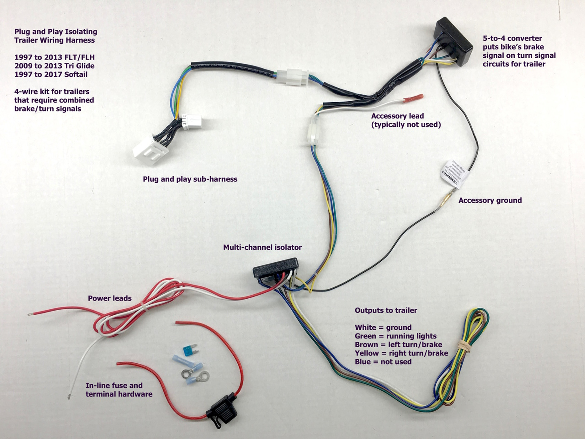 this is the isolating trailer wiring kit for 4 wire trailers combined brake lights [ 1280 x 960 Pixel ]