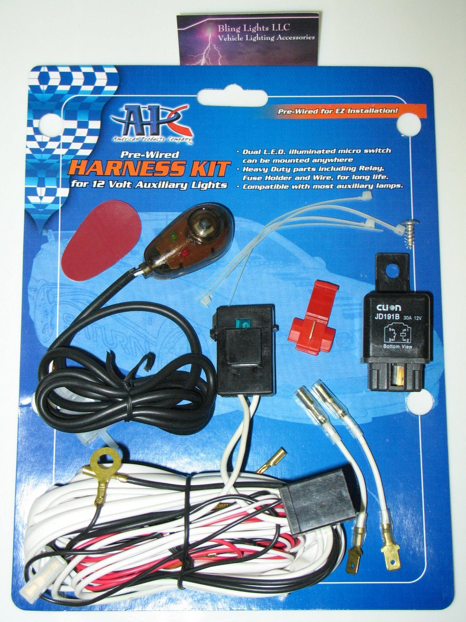 30 amp relay wiring kit driving light fog lamp harness 4x4 auxiliary off road  [ 960 x 1280 Pixel ]