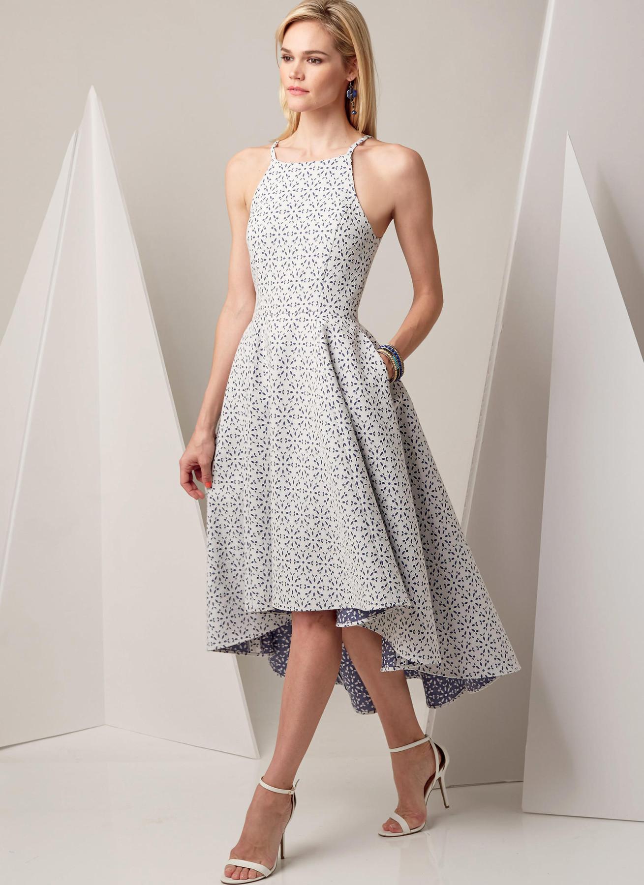 Hi Lo Dress Patterns : dress, patterns, V9252, Misses', Princess, High-Low, Dresses, Pockets, Vogue, Patterns