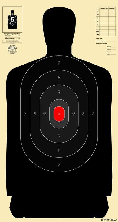 National Target B2724 NCJA 250 Targets Lawmens Police Supply