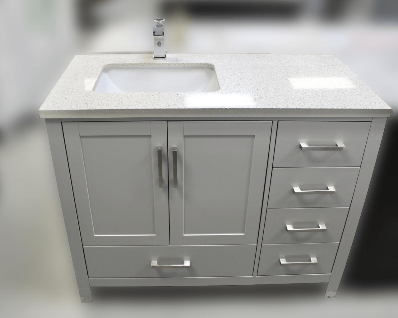 key west 44 gray offset left sink bathroom vanity