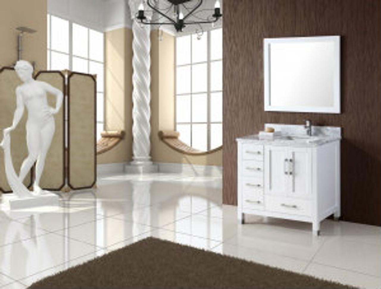 palmera 44 white offset right sink bathroom vanity