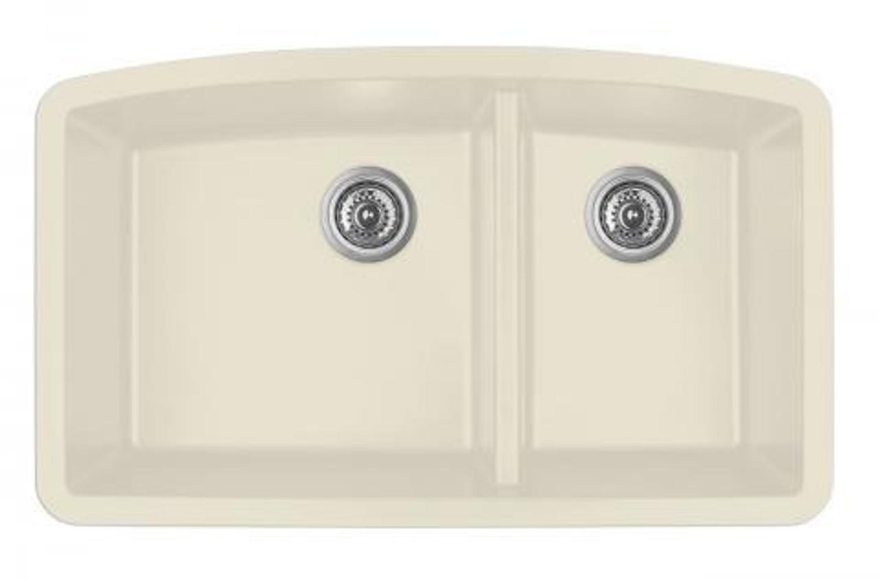 karran double bowl undermount kitchen sink bisque finish 32 1 2 x 19 1 2