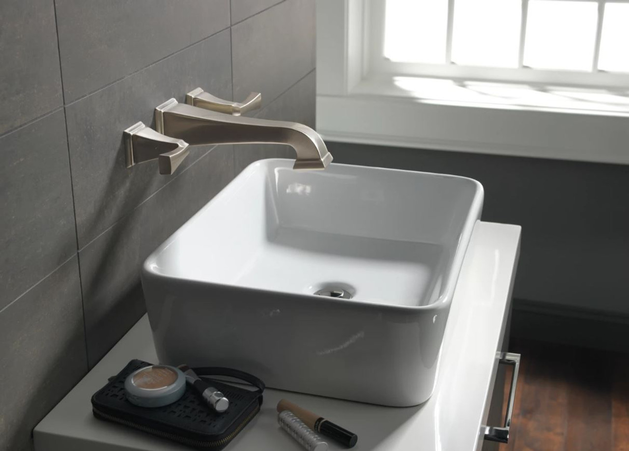 delta dryden wall mounted bathroom faucet less rough in valve and drain assembly includes lifetime warranty