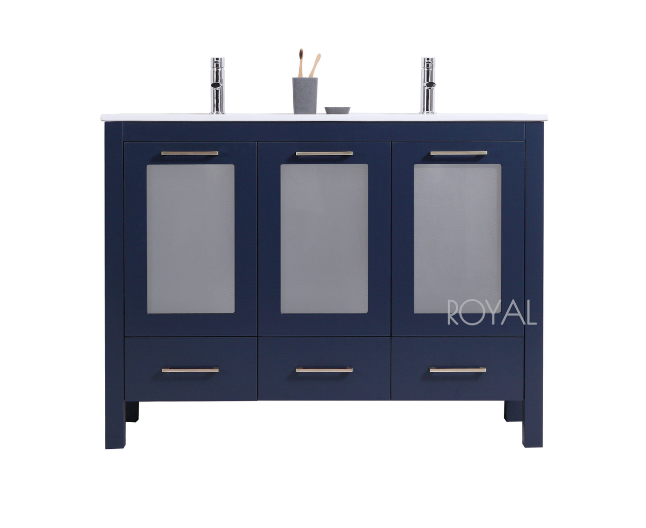Victoria 48 Navy Blue Double Sink Bathroom Vanity Royal Bath Place